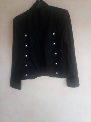Sweatblazer schwarz mit silberfarbenen Knöpfen