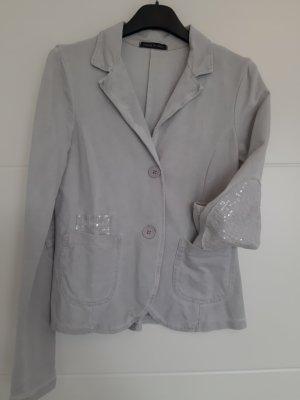 Blazer sweat gris clair-argenté coton