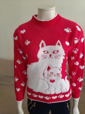 andere Marke Sweter z dzianiny różowy-różowy neonowy