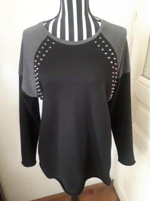 2nd Day Kraagloze sweater zwart-donkergrijs
