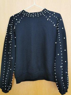 Sweater schwarz mit Perlenstickerei Gr. S/M