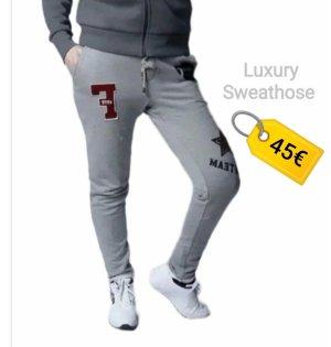 Sweathose Hellgrau Luxury Jogger Hose Schmal Sweatstoff Sommer Herbst Look Gr S  - Nein