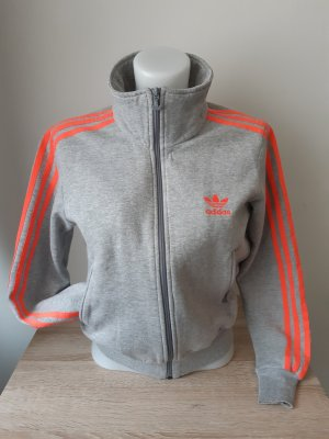 Adidas Sweat Jacket light grey-neon orange