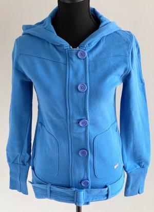 Sweatjacke Hoodie mit Kapuze und Gürtel blau