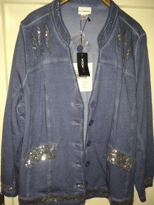 Sweatjacke in Jeansblau, verziert mit Pailletten