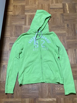 Abercrombie & Fitch Sweat Jacket meadow green-white