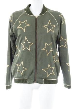 Sweatjacke waldgrün-goldfarben Sternenmuster Casual-Look
