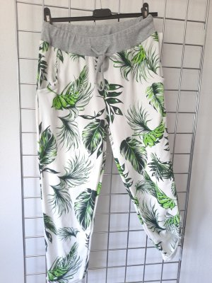 Made in Italy Pantalone fitness bianco-verde