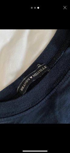 Brandy & Melville T-shirt court bleu foncé-blanc