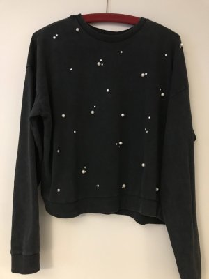 Sweatshirt Anthrazit mit Perlen Gr. M