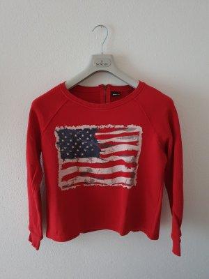 Sweatshirt crop kurz Pullover USA Flagge rot blau weiß