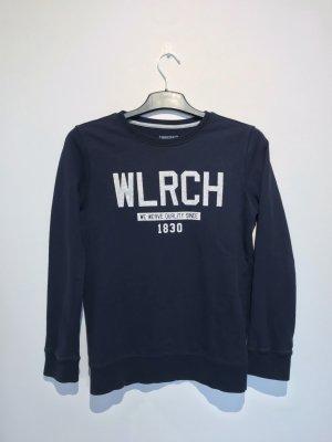 Woolrich Sweatshirt bleu foncé-blanc coton