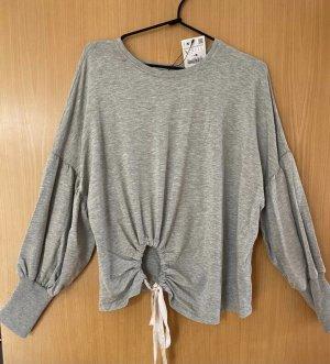 Zara Sweatshirt gris clair-crème