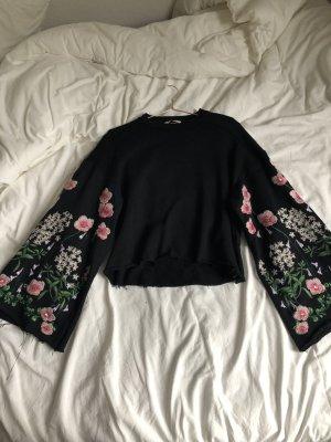 Sweatshirt Glockenärmel schwarz bunt pullover Glitzer Oberteil Party Festival Sweater Oberteil Electro Yoga Chill Shirt Blumen Stickerei