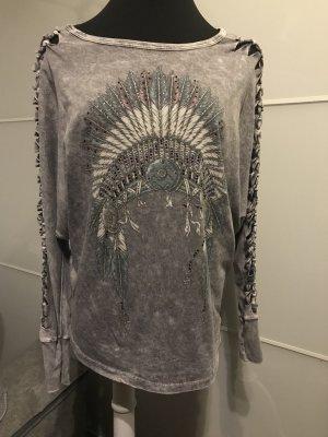 Shirt Tunic silver-colored-azure cotton