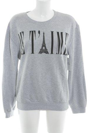 Sweatshirt hellgrau Motivdruck Casual-Look