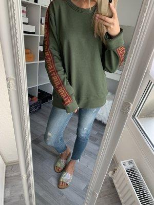Sweatshirt Hoodie Oversize Roberto Cavalli / M 38 / Khaki Grün Rot / Casual Chic
