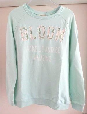 Sweatshirt in Mintgrün mit transparenten Spitzen Schriftzug Gr. S