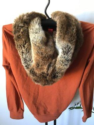 Sweatshirt / Jacke / Esprit / orange / grün / Kapuze / Fake Fur / Strass / Gr. M-L