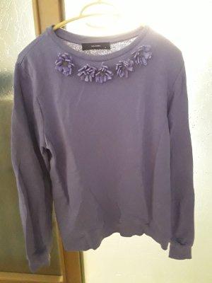 Sweatshirt lila mit Dekorkragen von Hallhuber