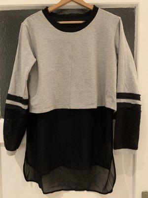 Silvian heach Sweatshirt noir-gris clair coton