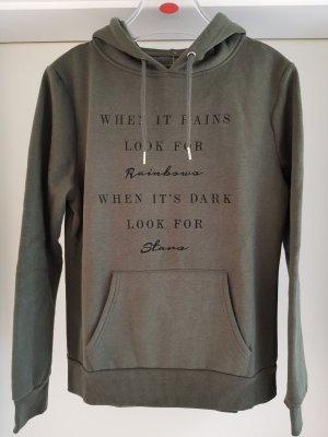 Sweatshirt mit Kapuze und Slogan Gr. UK 14 von Primark in Dunkelgrün und Schwarz