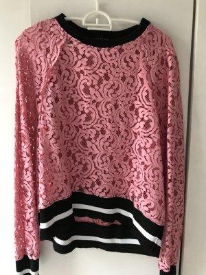 Sweatshirt mit Spitze von Zara, rosa, Gr. 38