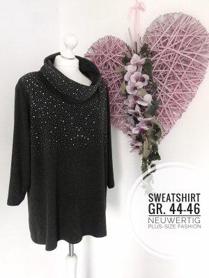 Sweatshirt Pulli Pullover neuwertig Anthrazit 44 46 plus size curvy
