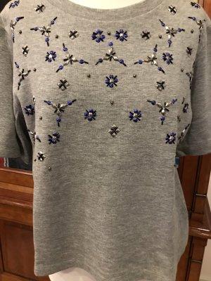 Sweatshirt Pullover bestickt grau melange Baumwolle-Viskose M