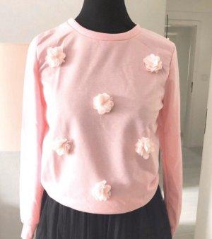 Sweatshirt rosa mit Chiffon Blüten Pulli Pullover Gr. 36 S