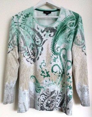 Sweatshirt Rundhals Grün Beige Weiß Gr. XL 48/50 Straß