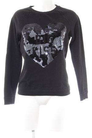 Sweatshirt schwarz Motivdruck Casual-Look