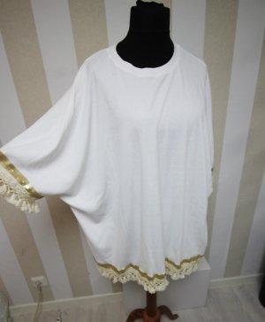 Camisa tipo túnica blanco-color oro