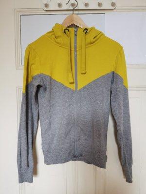 Blind Date Felpa con cappuccio grigio chiaro-giallo Cotone