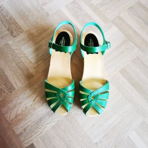 Swedish Hasbeens Clogs Sandalette grün 40