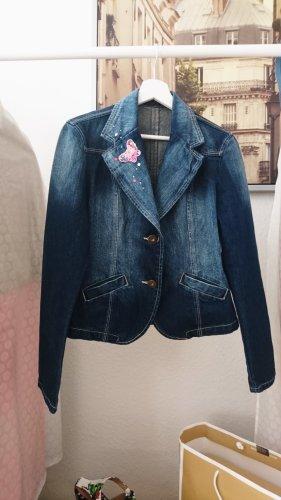Sweet Girly Girl: Butterfly Jeans Jacke  bunt bestickt neu