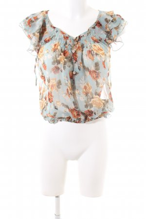 Sweet Miss Kurzarm-Bluse blau-hellorange Allover-Druck Casual-Look