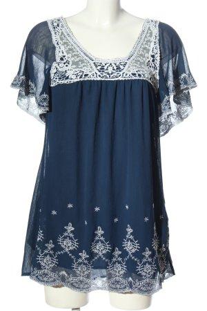 Sweet Miss Kurzarmkleid blau-weiß Allover-Druck Elegant