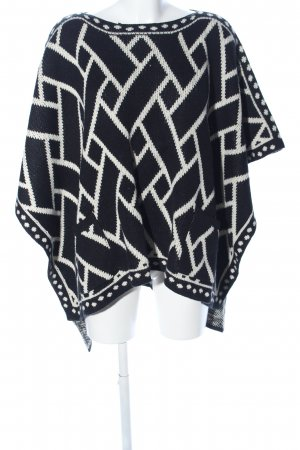 Sweet Miss Poncho schwarz-wollweiß grafisches Muster Casual-Look