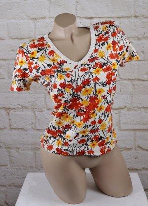 Sweet Retro Cropped Shirt s.Oliver Größe S 36 Orange Weiß Gelb Braun T-Shirt V-Neck Blumen Flower 70er Hippie