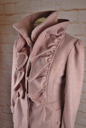 Sweet Rüschen Kurzmantel Mantel Orsay Größe 36 S Rosa Grau Kariert Karo Muster Trench Wollmantel Jacke