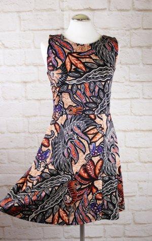 Sweet Skater Kleid Minikleid Größe S 36 Cut Out Jersey Ikat Braun Schwarz Rost Orange Afrika Sommerkleid
