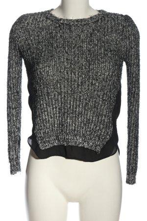 Sweewe Szydełkowany sweter czarny-jasnoszary Melanżowy W stylu casual