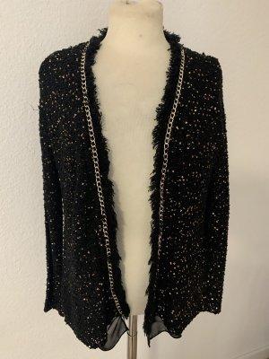 Sweewe Szydełkowany sweter czarny-złoto