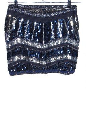 Sweewe Minirock blau-silberfarben abstraktes Muster extravaganter Stil