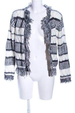 Sweewe Strickjacke weiß-schwarz grafisches Muster Casual-Look