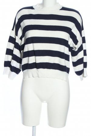 Sweewe Knitted Sweater white-black striped pattern casual look