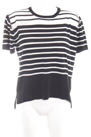 Sweewe Gebreid shirt zwart-wit gestreept patroon casual uitstraling
