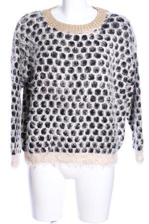 Sweewe Jersey de lana crema-negro estampado repetido sobre toda la superficie