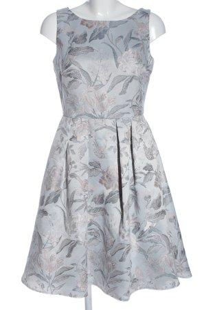 Swing A-Linien Kleid blau-wollweiß Allover-Druck Elegant